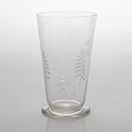 Göran hongell, a glass vase signed jl karhula.