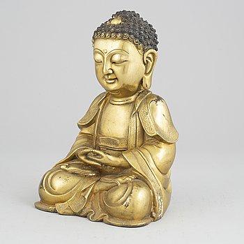 A bronze buddha, Ming style, 20th century.