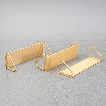Alvar Aalto, three birch wall shelves, Artek, Finland.