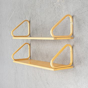 Alvar Aalto, two birch wall shelves, Artek, Finland.