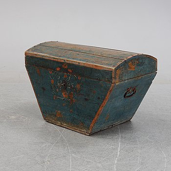 A Swedish painted chest, possibly from Hälsingland, dated 1825.