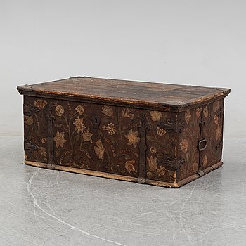 A painted Swedish chest, possibly from Uppland, second half of the 18th century.