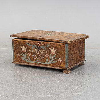 A Swedish painted chest from Uppland, probably Väddö, dated 1793.