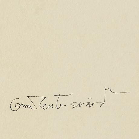 Oscar reutersvärd, ink & watercolour, signed.