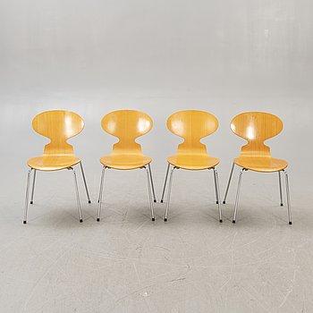 "Arne Jacobsen, Arne Jacobsen, stolar, 4 st, ""Myran"", Fritz Hansen daterade 1981."