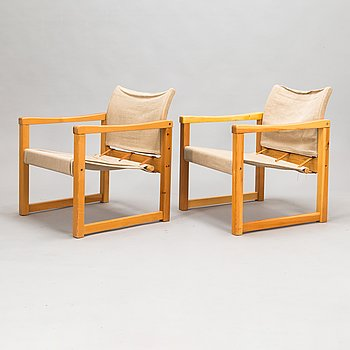 Karin Mobring, a pair of 'Diana' armchairs for IKEA. Designed in 1972.