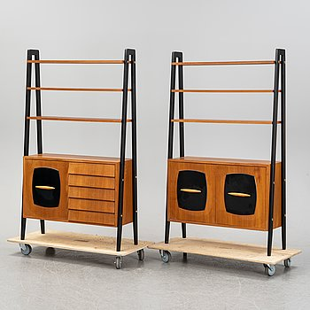 A pair of 'Tema' teak book cases by Gillis Lundgren for Ikea, 1950/60's.