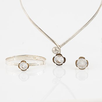 Alton, ring, bangle, necklace, silver with white synthetic spinel.