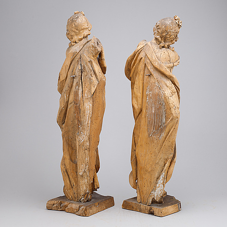 Sculptures, 2, wood, 18th century, possibly france.