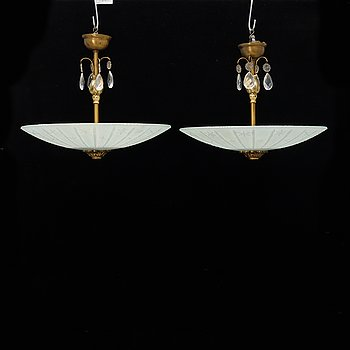 A pair of ceiling lamps, Swedish Modern, 1940s.