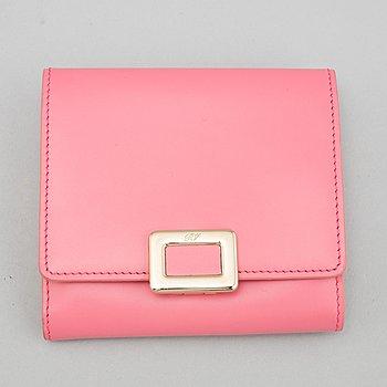 Roger Vivier, a pink leather wallet.