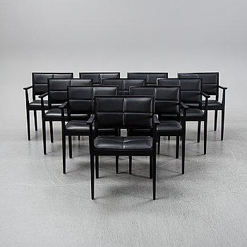 Ten contemporary armchairs.