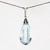 Aquamarine pendant on chain, low ct gold, 1 aquamarine height approx 2,5 cm, rose-cut diamonds and probably onyx.