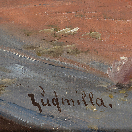 Unknown artist, 19/20th century, oil on canvas, signed ludmilla.