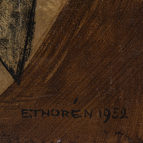 Esaias thorén, oil on board, signed and dated 1952.