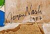 Jörgen nash, mixed media, signed, dated 1987.