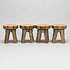 Bord och pallar, 4 st, utförd av eero turunen, lieksa 1976.