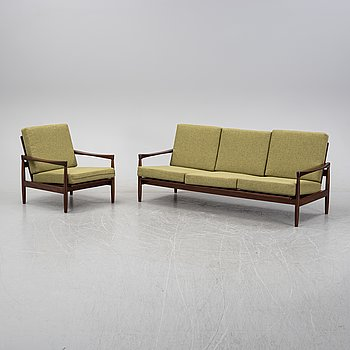 Erik Wörtz a walnut 'Kolding' sofa and an easy chair, IKEA, 1960's.