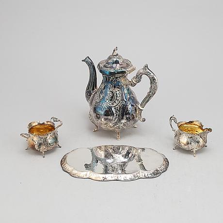 A swedish silver rococo-style coffee pot, creamer, sugar bowl and tray, gewe, malmö, 1977-1978.