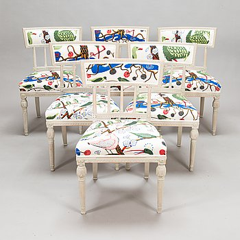 A set of six Late Gustavian chairs from around 1800, upholstery linen fabric designed by Josef Frank.