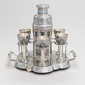 An 8-piece silver cocktail set, Thailand, 20th Century.