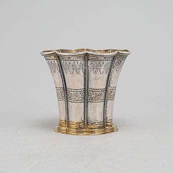 A Danish parcel-gilt silver beaker, mark of Edvard Andersen, Copenhagen circa 1950.