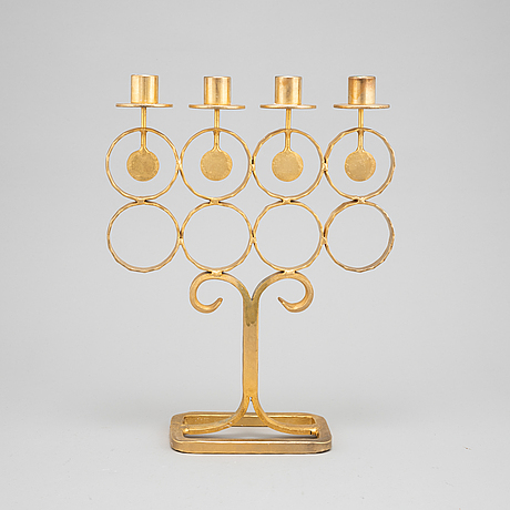 Bertil vallien, a wrought iron candelabrum from boda smide, 1960's.