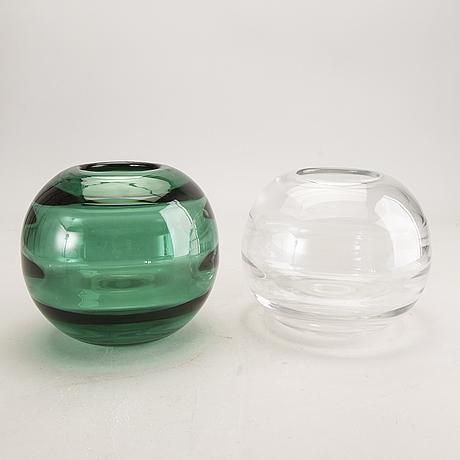 Edward hald, vases 2 pcs, optics-blown, signed orrefors.