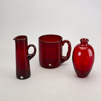Monica Bratt, 3 dlr, goblet, vase and carafe, Reijmyre.