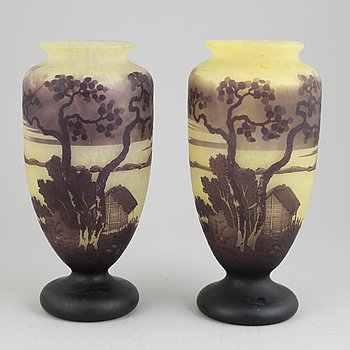 A pair of glass vases, 20th Century.