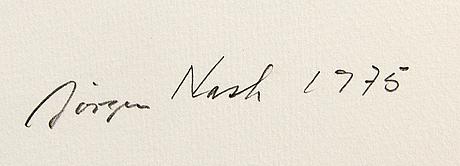 Jörgen nash, färglitografi signerad daterad och numrerad 1975 201/300.
