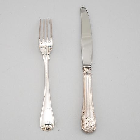 A 12 piece silver cutlery set, modell 'gammal fransk', mark of gab, eskilstuna.