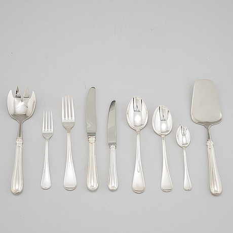 A 42 piece silver cutlery service, modell 'svensk rund', mark of gab, eskilstuna.