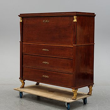 An Empire mahogany secretaire, first half of the 19th Century.