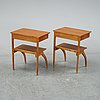 A pair of teak and birch bedside tables, mid 20th century.