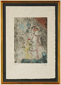 Roberto Matta, etching in colours, signed 15/60.