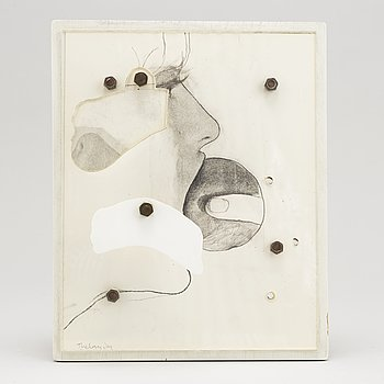 PG Thelander, relief/collage, signed and dated -68 verso.