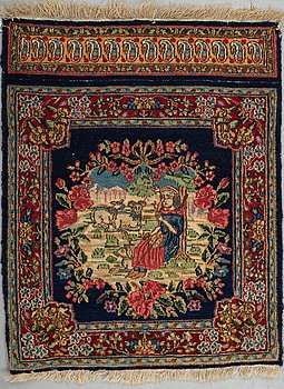 "A rug, semi-antique Kerman, ""Pushti"", ca 61 x 48 cm."