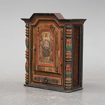 A 18/19th Century painted wall cabinet.