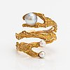 """Björn weckström, a 14k gold ring """"octobus"""" with cultured pearls. lapponia 1971."""
