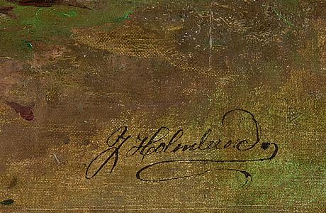 Josefina holmlund, olja på duk, signerad och daterad.