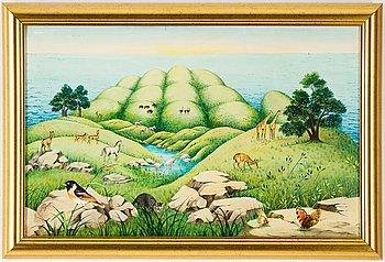 Yves Poyet, acrylic on canvas, signed. Executed 1986.