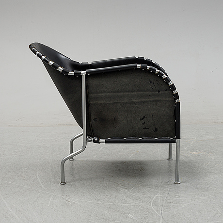 Mats theselius, a 'bruno' tubular steel and leather lounge chair, källemo ab, designed in 1997.