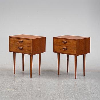 Kai Kristiansen, a pair of teak bedside tables, Felballes Møbelfabrik, Denmark, 1960's.