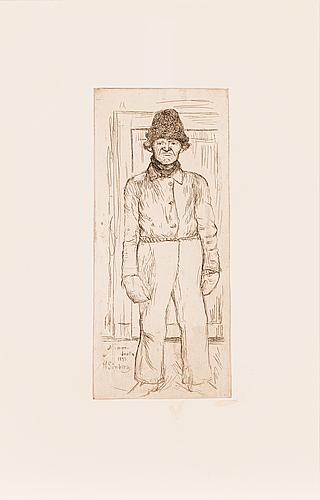 """Hugo simberg, viivasyövytys, laattasigneerattu ja merkattu """"niemenlautta 1899""""."""