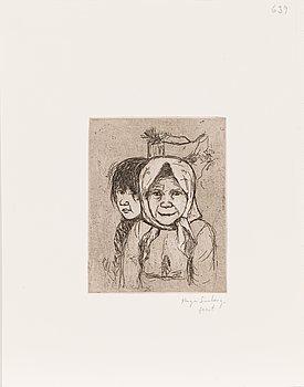 Hugo Simberg, line etching, signed fecit.