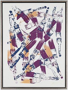 Arman, monotype, silkscreen on canvas, signed.