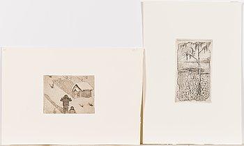 Hugo Simberg, line etchings, 2 pcs, not signed.