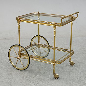 A brass drinks trolley, second half of the 20th Century.