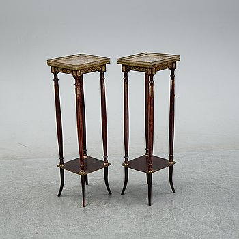 A pair of directoire style pedestals, 19th Century.
